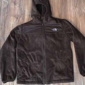 Brown hooded north face